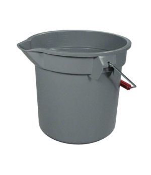 "BRUTE® Bucket, round, 14 qt., 12"" dia x 11-1/4""H, mold-in graduations, gray"