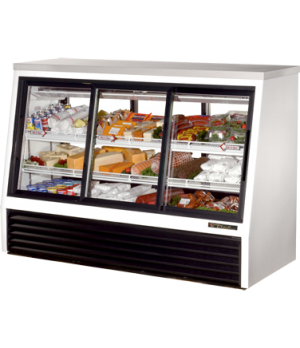 Single Duty Deli Case, pass-thru, stainless steel top, (3) Low-E glass front doo