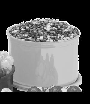 "Crock, 1.5 qt., 4-5/16""H, 6-5/8"" dia., with polyethylene lid, polypropylene, bei"