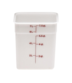 CamSquare® Food Container, 8 quart, 8-3/8 x 8-3/8 x 9-1/8, natural white, orange