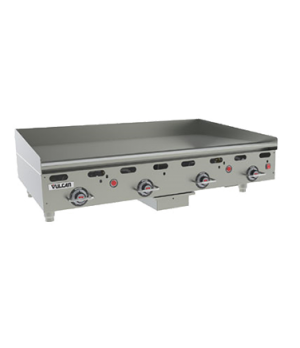 "Heavy Duty Gas Griddle, 108,000 BTU, 48""W x 30""D x 1"" thick polished steel gridd"