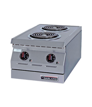 "Designer Series Hotplate, electric, 15"" W, countertop, two burners, 8"" flat spir"