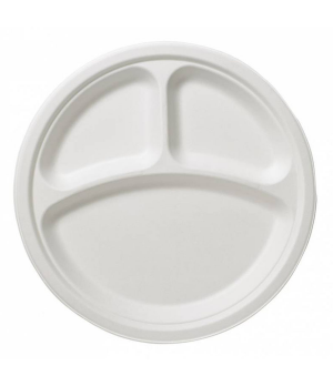 """Disposable Plate, 10-1/4"""" dia. (26 cm), round, with (3) compartments, biodegrada"""