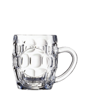 "Beer Mug, 10 oz., glass, Luminarc, Britannia, (H 3-3/4""; M 4-1/4"")"