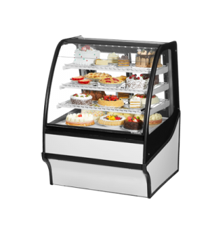 "Display Merchandiser, Refrigerated, 36-1/4""L, curved glass front, glass ends, (3"