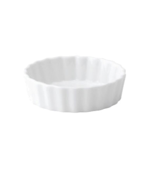 "Mini Flan Dish, 3.25"" diameter (8 cm), round, fluted, porcelain, microwave and d"