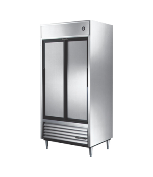 Refrigerator, Reach-in, (2) stainless steel sliding doors, stainless steel front
