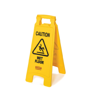 "Floor Sign, ""caution wet floor"", 2-sided, 26-1/2"" x 11"" x 1-1/2"", 25"" open, yell"