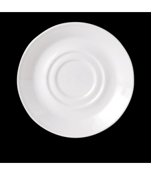 "Saucer, 4-5/8"" dia., round, double well, vitrified china, Performance, Ivory (UK"