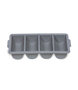 "Cutlery Bin, 4 compartments, 21-1/4""W x 11-1/2""D x 3-3/4""H, ribbed design, durab"
