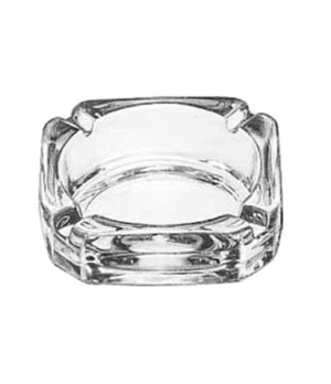 "Ash Tray, 3-3/4"" square, clear glass"