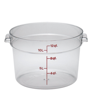 "Storage Container, round, 12 qt., 14-7/8"" dia. x 8-3/8"" high, natural white, pol"