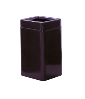 "Waste Receptacle, 20 gallon, 16"" square, 30"" H, open top, fiberglass, retainer b"