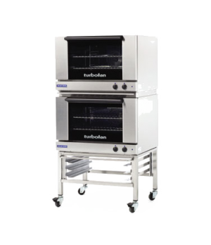 "Turbofan Convection Oven, electric, double stacked with stand, compact 31-7/8"" w"