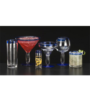 Zombie Glass, 16 oz., with cobalt blue rim, anneal treated, dishwasher and micro