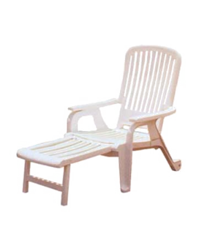 Bahia Stacking Deck Chair, resin, white