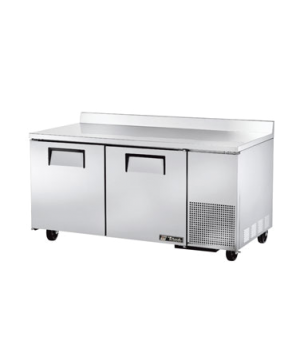 Deep Work Top Freezer, two-section, (4) shelves, stainless steel top with rear s