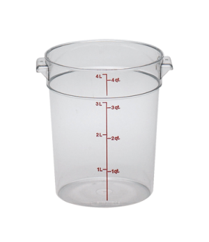 "Storage Container, round, 4 qt., 8-3/16"" dia. x 8-9/16""H, natural white, polyeth"