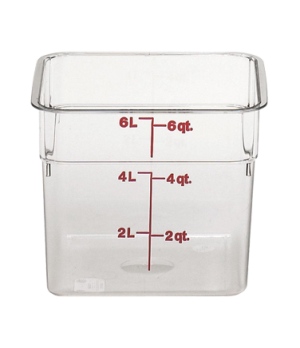 "CamSquare® Food Container, 6 quart, 8-3/8"" x 8-3/8"" x 7-1/4"", clear, orange grad"