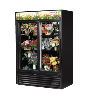 Floral Merchandiser, two-section, (4) adjustable black PBC coasted shelves, blac