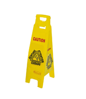 """Floor Sign, multi-lingual, """"caution"""", 4-sided, 38"""" x 12"""" x 1/2"""", 37"""" open, yello"""