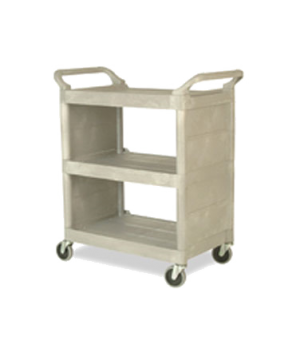 "Utility Cart, 3 shelves, 31""W x 18""D x 37-1/2""H, smooth surface, handles, enclos"