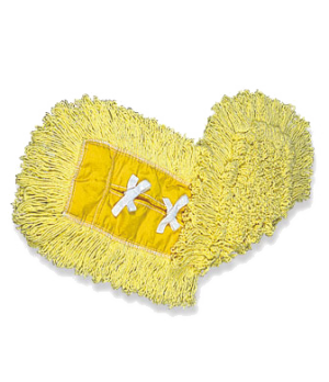 "Trapper® Dust Mop, 24"" L x 5"" W, loop-end, half-tie backing, yellow yarn/yellow"