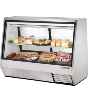 Double Duty Deli Case, see-thru, Low-E glass front & (2) rear doors, white alumi