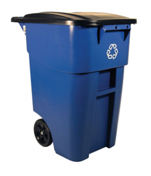 "BRUTE® Recycling Roll-Out Container, 50 gallon, 28-1/2"" x 23-2/5"" x 36-1/2"" H, w"