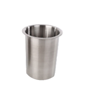 "Cutlery Cylinder, 3-3/4"" dia. x 5-1/2""H, plain, stainless steel"
