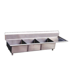 "(22116) Pot Sink, (3) 18"" front to back x 18"" wide x 11"" deep bowls, 8"" center f"