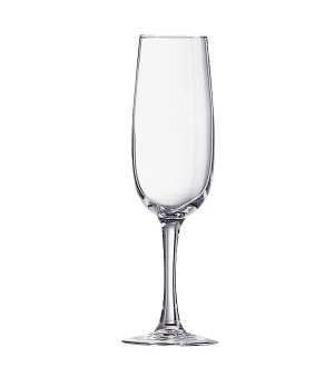 "Flute Glass, 5-3/4 oz., glass, Arcoroc, Elisa, (H 7-1/2""; M 2"")"