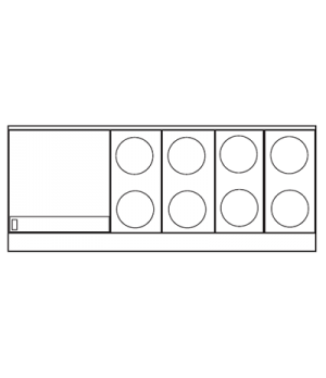 "Restaurant Range, electric, 72"", (8) round elements, (1) 24"" thermostatic griddl"