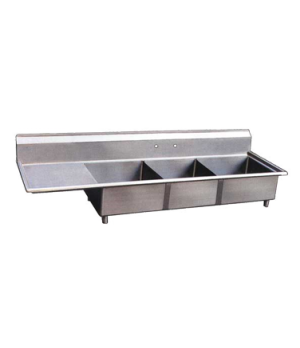 "(22115) Pot Sink, (3) 18"" front to back x 18"" wide x 11"" deep bowls, 8"" center f"