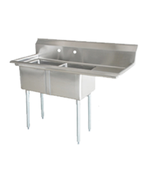 "(25257) Pot Sink, (2) 24"" front to back x 24"" wide x 14"" deep bowls, 8"" center f"