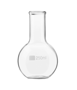 "Flask, 8-1/2 oz. (250 ml) capacity, 5-1/8"" H, stemless, round base, glass, clear"