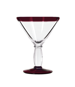 Cocktail Glass, 10 oz., with red rim and foot, anneal treated, dishwasher and mi
