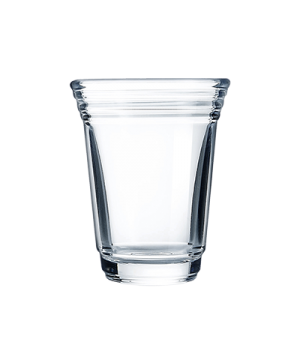 "Shot Glass, 2 oz., glass, Arcoroc (H 2-5/8""; T 2-1/8""; B 2-1/2""; M 3-3/4)"