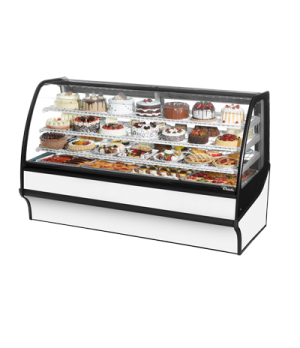 "Display Merchandiser, Refrigerated, 77-1/4""L, curved glass front, glass ends, (3"