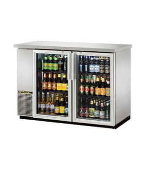 "Back Bar Cooler, two-section, 24"" deep, 35-5/8"" high, (48) 6-packs or (2) 1/2 ke"