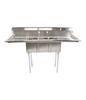 "(43756) Convenience Store Sink, three compartment, 62""W x 19-1/2""D x 43-3/4""H, 1"