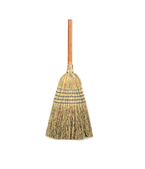 "Corn Broom, warehouse, 35 lb., 1-1/8"" dia. stained/lacquered handle, 100% natura"
