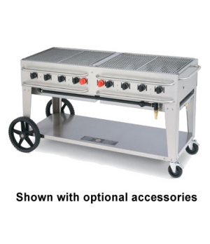 "Rental Grill, LP gas, 69""L x 28""D, 8 burners, stainless steel  construction, sta"
