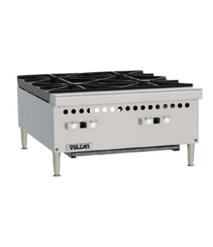 "Hotplate, gas, 24""W, 100,000 BTU, (4) 25,000 BTU open burners with lift-off burn"