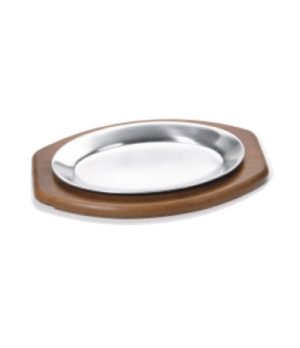 "Steak Platter, 7"" x 10-1/2"", oval, fits 61 , stamped aluminum, mirror finish"