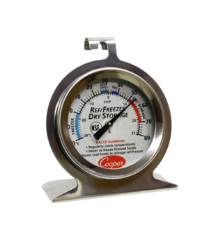 "Refrigerator/Freezer/Dry Storage Thermometer, colored 2"" (5cm) dia. dial zoned w"