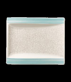 """Plate, 7 """" x 6"""", rectangular, flat, premium porcelain, Amarah Aquamarine"""