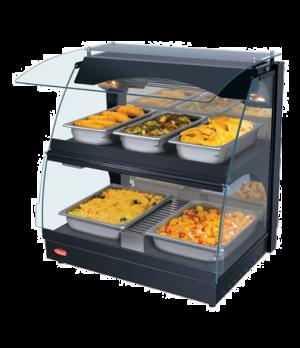"Glo-Ray™ Curved Merchandising Warmer, 26"" wide, deck & shelf, mirrored glass bac"