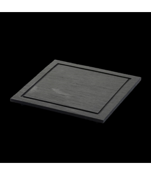 "Starter Plate, 8-1/4"" X 8-1/4"", square, fine, grooved border, with feet, oven/mi"