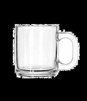 "Coffee Mug, 10 oz., clear glass, (H 3-1/2""; T 3-1/8""; B 2-3/4""; D 4-1/2"")"